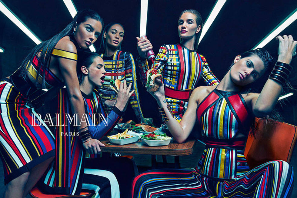 ADRIANA LIMA, JOAN SMALLS, ROSIE HUNTINGTON-WHITELEY, ISABELI FONTANA, AND CRISTA COBER FOR BALMAIN