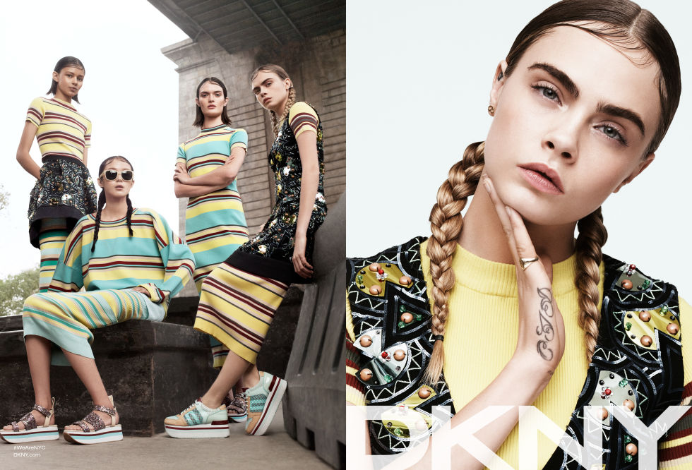 CARA DELEVINGNE, BINX WALTON, XIAO WEN, AND SAM ROLLINSON FOR DKNY